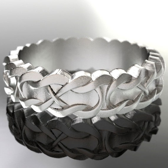 Celtic Wedding Ring With Infinity Symbol Braid Pattern in Sterling Silver, Made in Your Size CR-1046