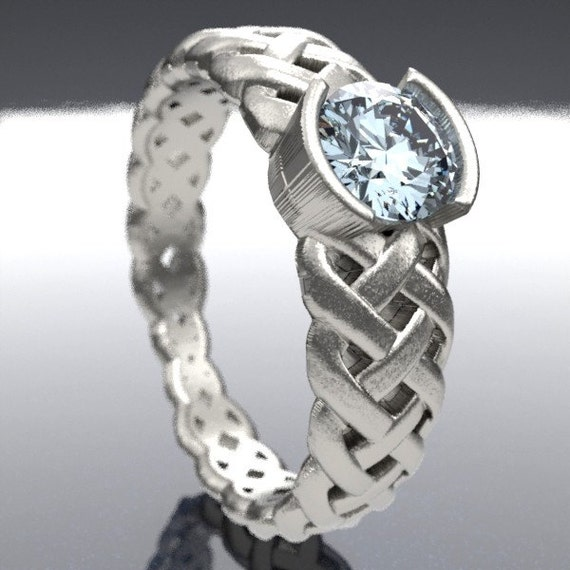 Celtic Moissanite Engagement Ring With Braided Cut-Through Knotwork Design in Sterling Silver, 10K, 14K, 18K or Palladium, Made in Your Size