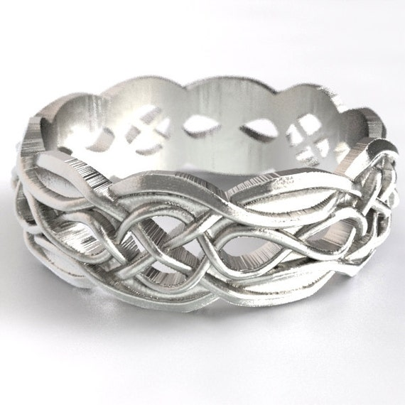 Celtic Wedding Ring With Partial Cut-Through Infinity Symbol Pattern & Quaternary Celtic Knots in Sterling Silver, Made in Your Size CR-1054