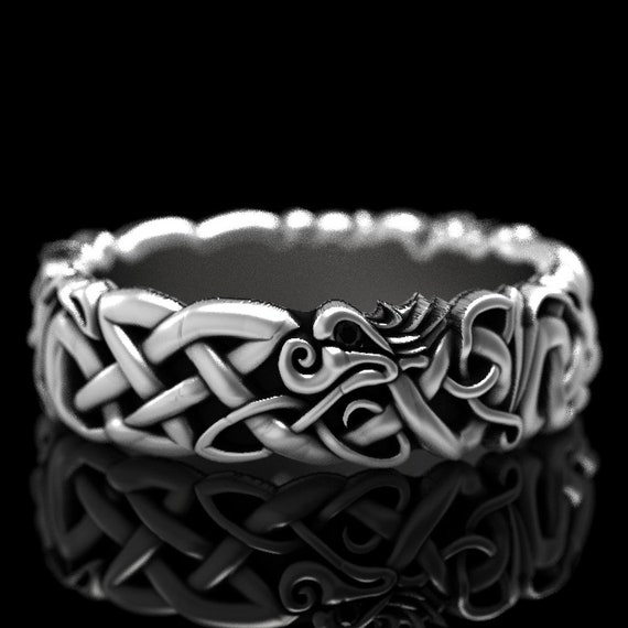 RESERVED FOR Marleen Sterling Silver Celtic Dragon Ring With Black Spinels, Dragon Jewelry, Celtic Knot Ring, Custom Size 1191