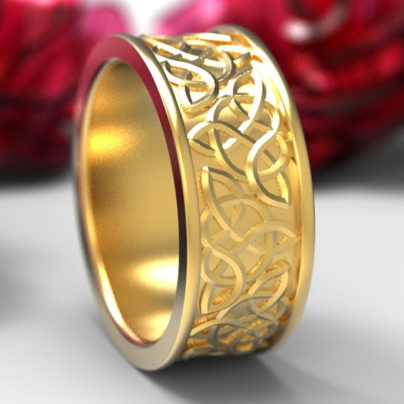 Celtic Wedding Ring With Raised Relief Knotwork Design in 10K 14K 18K Gold or Platinum, Made in Your Size CR-66