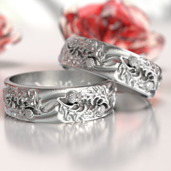 Thistle Wedding Band Set, 925 Sterling Silver Scottish Ring, Unique Rings for Him, Botanical Jewelry, Handcrafted Rings, Custom Size 5064