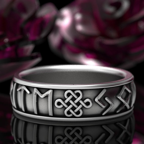RESERVED FOR A McNer 3 Payments For Custom You're My Favorite Rune Ring in 10K White Gold, Celtic Knot Jewelry, Viking Rune Jewlery, 5101