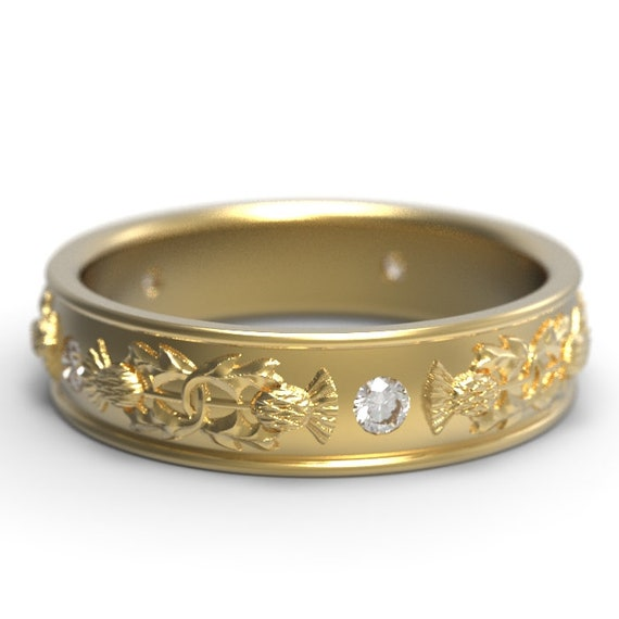 Gold Thistle Ring, 10K 14K or 18K Gold Scottish Ring with round Moissanite stones, Botanical Jewelry, Platinum Womens Ring 5073