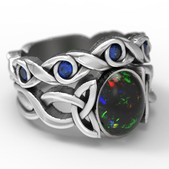 Opal & Sapphire Engagement Ring Set, Sterling Silver Celtic Knot Ring, Opal Celtic Ring, Opal Ring Set, Black Opal Ring in Your Size CR-1131