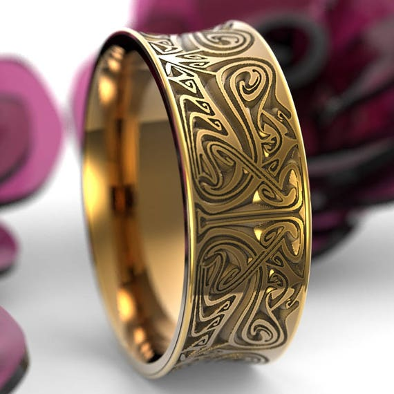 RESERVED FOR Nadia, 4 Payments for Gold Engraved Norse Wedding Ring With Dramatic Design in 14K Yellow Gold, Made in Your Size Cr-5088