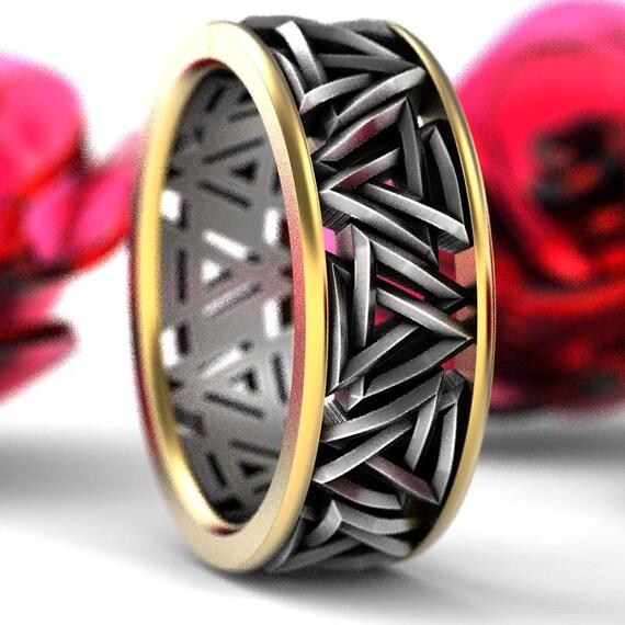 2-Tone Valknut Knot Viking 10K Gold & Silver Ring, Interlocking Triangles Ring, Odin Rune Jewlery, Norse Ring, Sterling Rune Ring, 1189