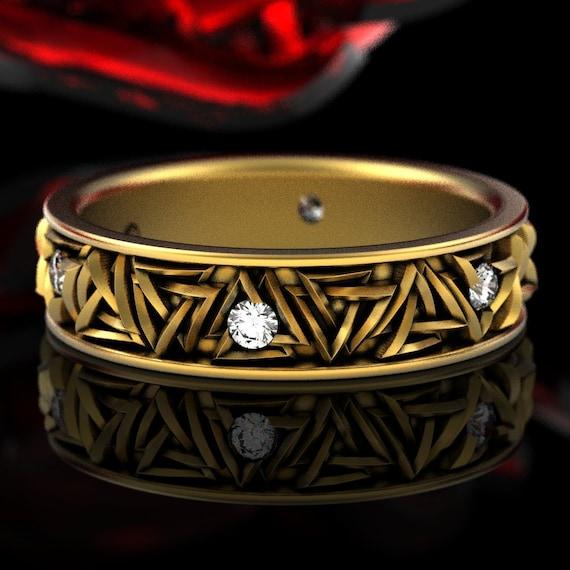 Moissanite Viking Wedding Ring, Gold Valknut Knot Ring, Odin Ring, Viking Rune Ring, Norse Ring, Viking Wedding Band, Pagan Wedding 1376