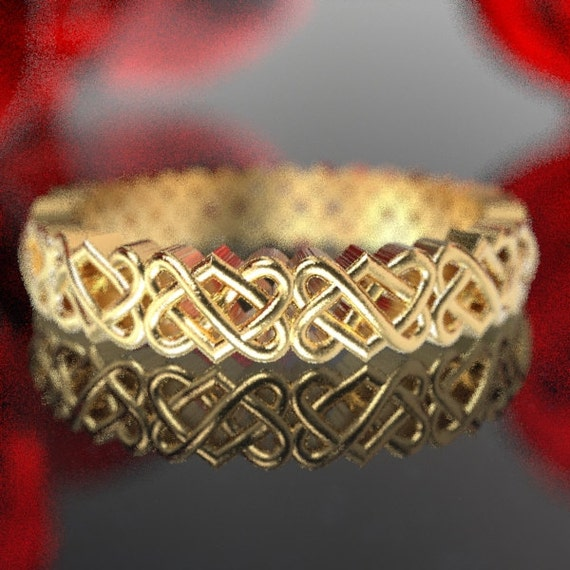 Gold Celtic Wedding Ring With Heart Knotwork Design in 10K 14K 18K Gold or Platinum, Made in Your Size Cr-1033