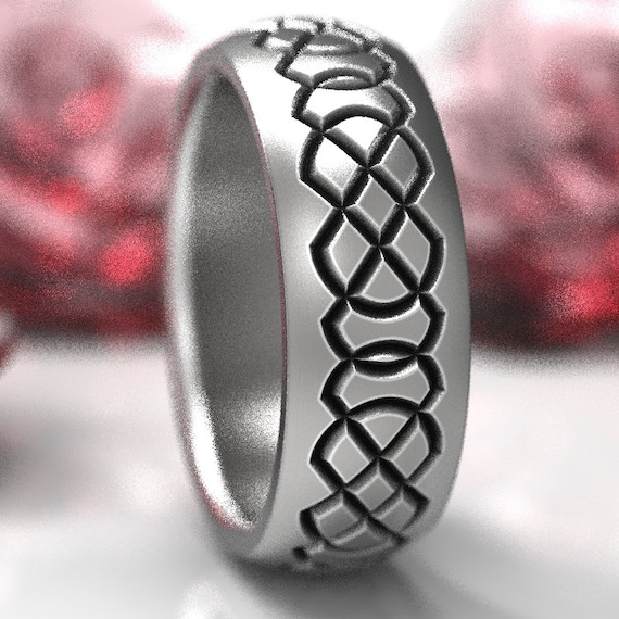 Celtic Infinity Knot Ring Design in Sterling Silver, Custom Wedding Ring Made in Your Size, CR-1253