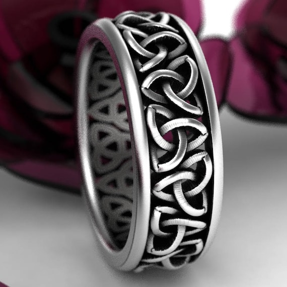 Celtic Wedding Ring With Cut-Through Trinity Knot Design in Sterling Silver, Made in Your Size CR-200