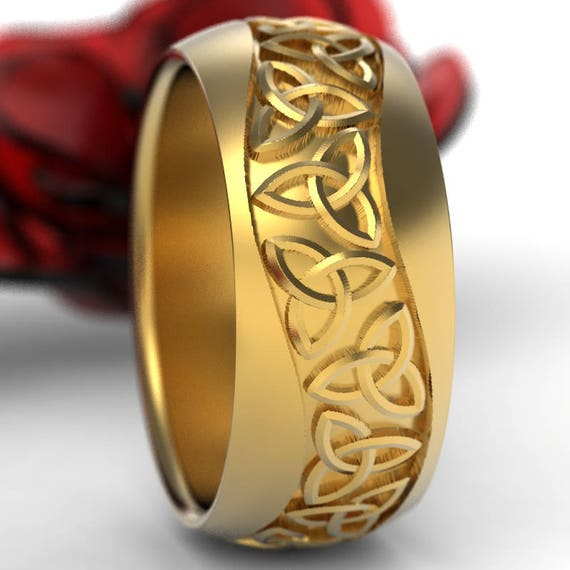 Gold Celtic Wedding Ring With Trinity Knot Design in 10K 14K 18K or Palladium, Made in Your Size Cr-196