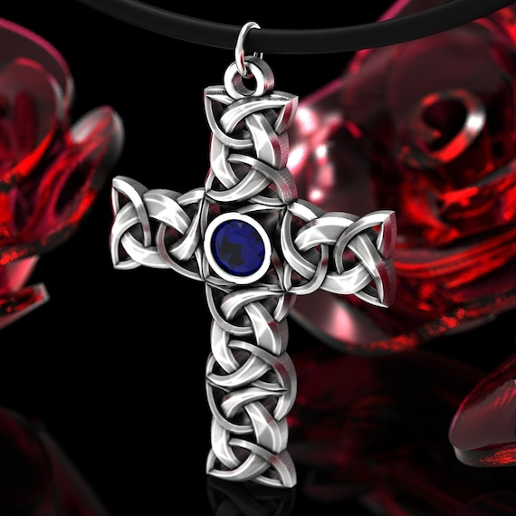Celtic Cross with Gemstone in Sterling Silver, Woven Celtic Cross, Silver Celtic Cross Necklace, Celtic Knot Cross with Leather Cord 107