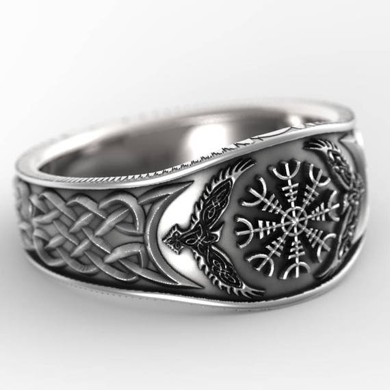 Sterling Silver Raven & Helm of Awe Ring, Mens Wedding Band, Raven Jewelry, Odin Viking Ring, Custom Size