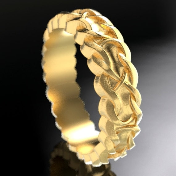 Gold Celtic Wedding Ring With Infinity Symbol Braid Pattern in 10K 14K 18K or Palladium, Made in Your Size Cr-1046