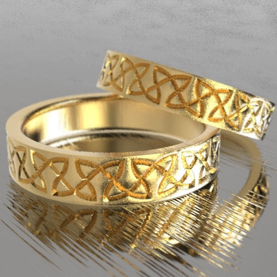 Celtic Wedding Ring Set With Classy Dara Knotwork Design in 10K 14K 18K Gold, Palladium or Platinum Wedding Ring Made in Your Size CR-748