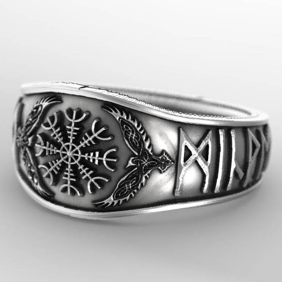 Custom Oden's Ravens & Helm of Awe Rune Ring, Mens Wedding Band, Sterling Silver 1160