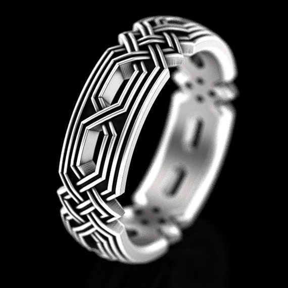 Sterling Silver Celtic Knot Ring, Unique Wedding Band, Braided Wedding Band, Celtic Wedding, Celtic Eternity Ring,  Made in Your Size 1324