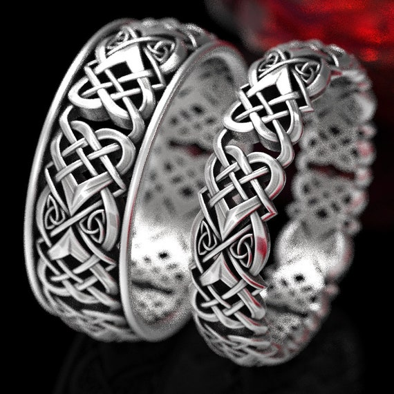 Celtic Knot Heart Ring Set, Mens & Womens Celtic Ring Knot Set, Love Knot Sterling Ring Set, Heart Matching Wedding Ring Set 1360 + 1362