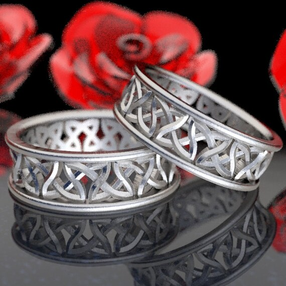 Eternity Wedding Ring Set With Cut-Through Celtic Woven Knotwork Design in Sterling Silver, Made in Your Size CR-37