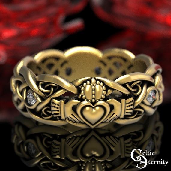 Gold Claddagh Ring with Moissanites, Modern Claddagh Wedding Ring, Celtic Gold Wedding Band, Irish Love Ring, Platinum Claddagh Ring, 1052