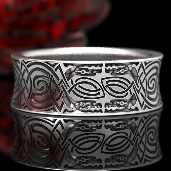 Engraved Norse Wedding Ring With Dragon Design in Sterling Silver, Made in Your Size 1348