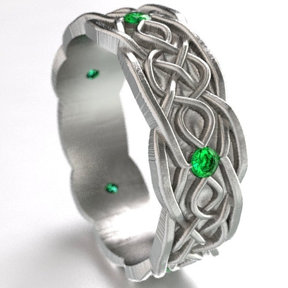 Celtic Wedding Ring With Infinity Symbol Pattern With Emerald Stones in Sterling Silver, Made in Your Size CR-1050