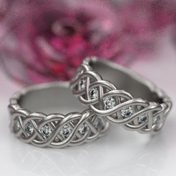 Celtic Wedding Ring Set with Moissanites in 4 Cord Braided Knot Design Sterling,10K 14K 18K, Palladium,or Platinum Made in Your Size CR-1008