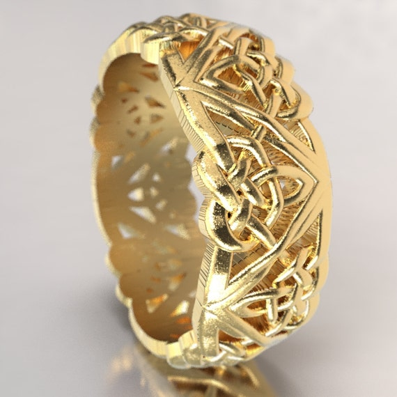 Celtic Wedding Ring with Raised Relief Cut-Through Custom Knotwork Design in 10K 14K 18K Gold, Palladium, Platinum Ring in Your Size 1105