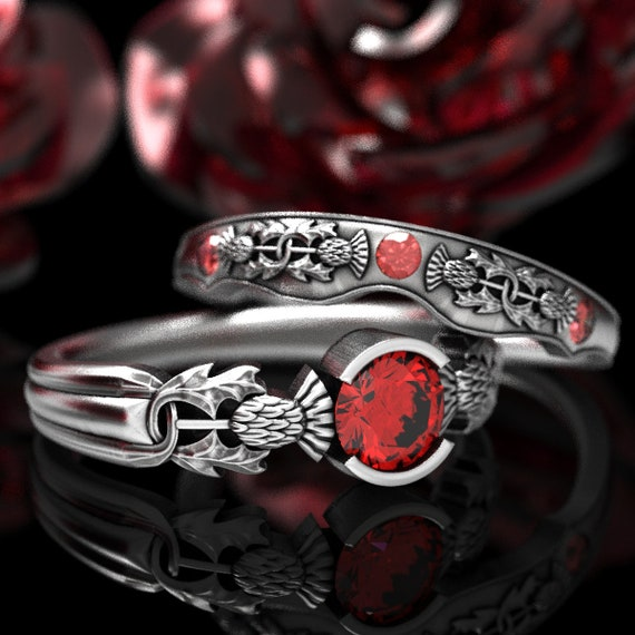 Thistle Engagement Ring Set with Ruby, Sterling Silver Floral Rings, Scottish Solitare, Handcrafted Rings, Unique Engagement Ring 5062
