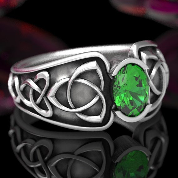 Celtic Emerald Ring With Trinity Knot Band Ring Design in Sterling, 10K 14K 18K Gold or Platinum, Made in Your Size CR-17d