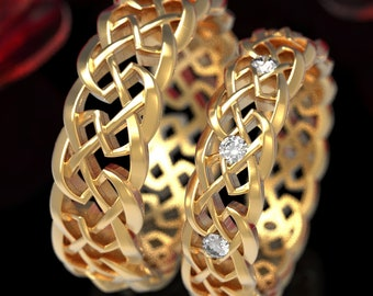 Gold His Hers Celtic Knot of Protection Wedding Band Set, 10K 18K Platinum Moissanite Celtic Knotwork Ring, Celtic Wedding Ring 1356 1357