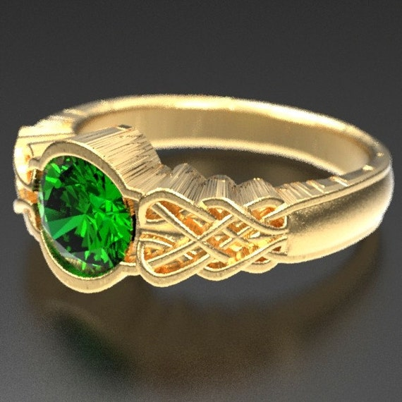 Gold Celtic Emerald With Dara Knot Style Design in 10K 14K 18K or Palladium, Made in Your Size Cr-1032
