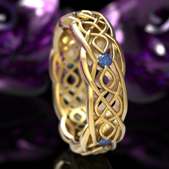 Gold Celtic Wedding Ring With Cut-Through Infinity Symbol Pattern & Blue Sapphires in 10K 14K 18K Gold or Platinum Cr-1049