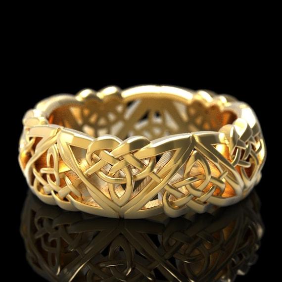Celtic Wedding Ring, Mens Celtic Ring, Celtic Gold Ring, Celtic Knot Ring Made in 10K 14K 18K Gold, or Platinum Ring in Your Size 1105