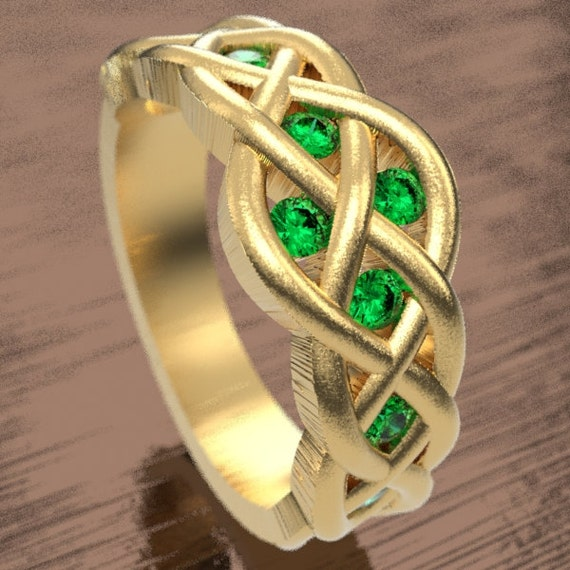 Celtic Emerald Wedding Ring With Woven Knotwork Design in 10K 14K 18K Gold or Platinum Made in Your Size CR-764