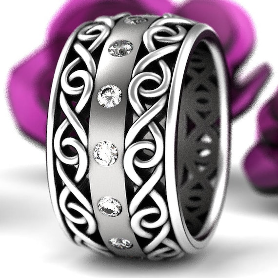 Celtic Wedding Ring With Moissanite and Cut-Through Infinity Symbol Design in Sterling Silver, Made in Your Size CR-510