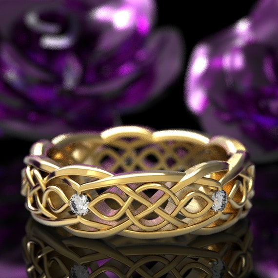 Gold Celtic Wedding Ring With Cut-Through Infinity Symbol Pattern & Moissanite Stones in 10K 14K 18K or Platinum, Made in Your Size Cr-1049