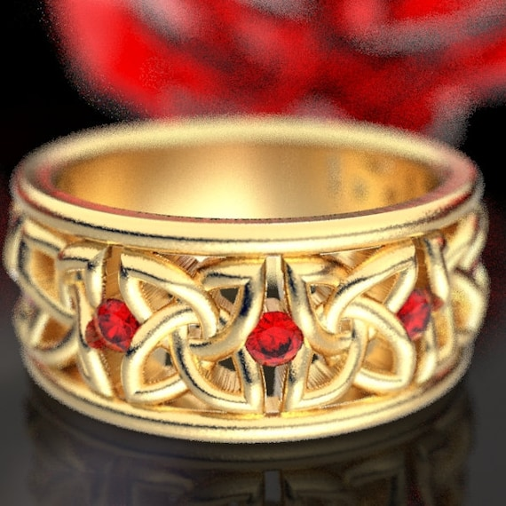 Celtic Wedding Ring with Ruby Stones in 4 Petal Flower Dara Knot Design Made in 10K 14K 18K Gold or Palladium, Made in Your Size cr-1010