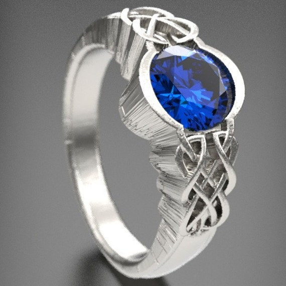 Unique Celtic Blue Sapphire Engagement Ring, With Dara Knot Style Design in Sterling Silver, Made in Your Size CR-1032