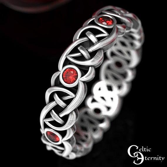 Classic Silver Wedding Band, Sterling Ruby Ring, Ruby Celtic Wedding Ring, Bridal Wedding Band, Unique Womans Ring, Irish Wedding, 1507