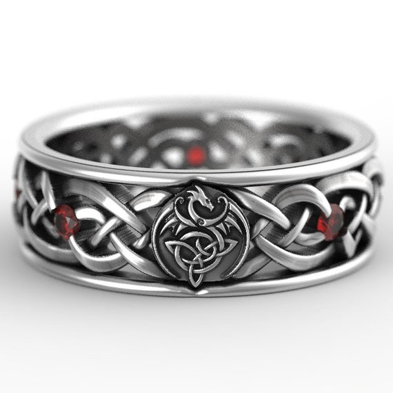 RESERVED FOR Alyssa Celtic Dragon Sterling Knot Ring Set with Garnets, Dragon Knot Wedding Set Custom Size 1251(sz 8.5) and 1044(sz 9.5)