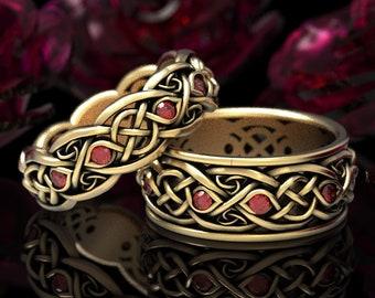 Matching Gold Wedding Band Set, Ruby & Gold Celtic Ring Set, Platinum Ring Set, Celtic Wedding Ring, Infinity Wedding Ring, 1096 1052