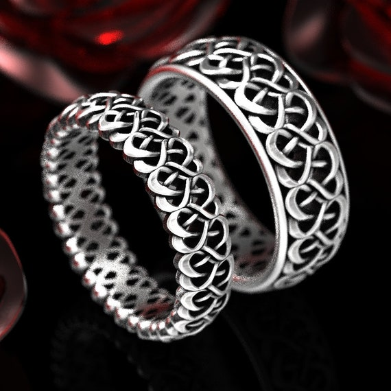 Celtic Knot Ring Set, His and Hers Rings, Celtic Heart Wedding Rings, Love Knot Wedding Band Set, Couples Ring Set, Custom Size 1334 1335