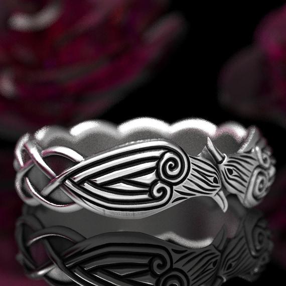 Celtic Knot Raven Ring, Norse Raven Ring, Hugin and Munin Celtic Raven Ring, Raven Wedding Band, Sterling Silver Celtic Raven Band 1280