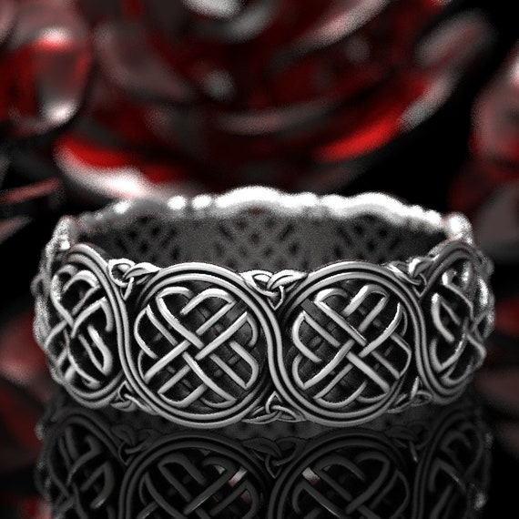 Celtic Wedding Ring With Shield Knot, Celtic Protection Knot, Celtic Trinity Knot Ring, Sterling Celtic Wedding Band, Made in Your Size 1281