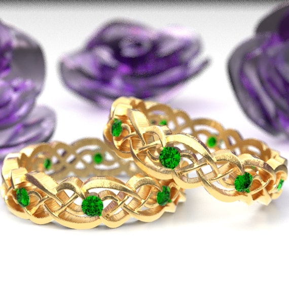 Gold Celtic Wedding Ring Set With Emeralds, Infinity Band, Eternity Emerald Ring in 10K 14K 18K Palladium or Platinum, Custom Size 1044