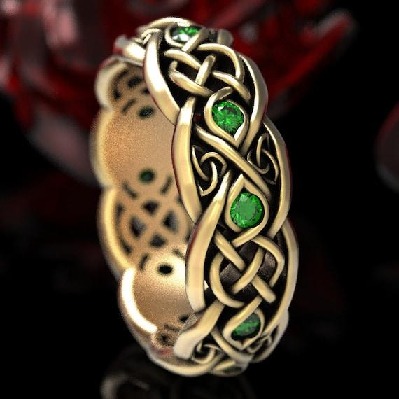 Infinity Wedding Band, Gold Emerald Wedding, Gold Celtic Ring, Infinity Wedding Ring, Gold Celtic Wedding Band, Emerald Platinum Ring, 1052
