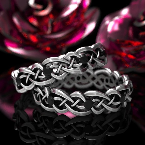 Black Spinel Ring Set, Celtic Infinity Band, Sterling Silver Wedding Band, Budget Wedding Ring, Woven Wedding Ring, Custom Size CR-1044