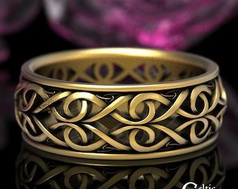 Gold Celtic Wedding Ring, Men's Platinum Wedding Band, Celtic Gold Ring, 10K 14K 18K Gold Modern Wedding Band, Infinity Wedding Band 1422